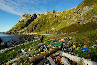 Photo: A coastline at 70 deg north. Plastics in of all shapes and sizes can be found here, from q-tip pins to large plastic containers.
