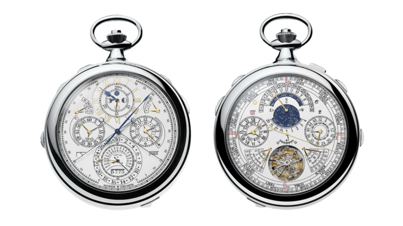 A photo of both sides of the Vacheron Constantin Ref. 57260. With its steel case and 57 complications.