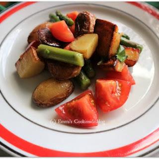 Fried Potato Salad with Green Asparagus Recipe
