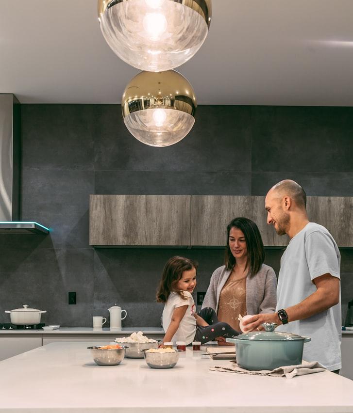 family in kitchen photo idea