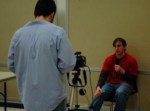 Photo: Errick Rios interviews for video diary