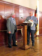 Photo: Ron Dunsmore & Larry Clark opened, with the presentatiion of the gavel, before dinner