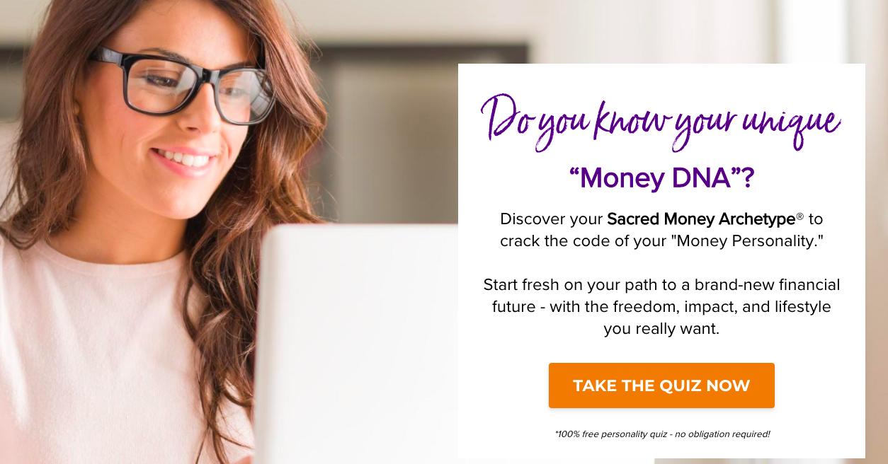 Money DNA quiz landing page with CTA