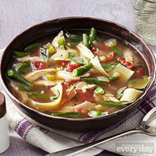 Italian-Style Rotisserie-Chicken Noodle Soup with Green Beans