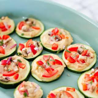 Mini Zucchini Hummus Pizza Bites.