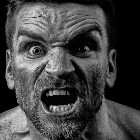 Out of the dark by Tom Mehlum - People Portraits of Men ( scary, picture, face, bw, angry, people, man )