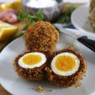Baked Scotch Eggs with Shallot Yogurt Dipping Sauce.