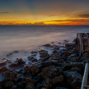 Morning Stone by Raden Bagus Paijo - Landscapes Sunsets & Sunrises ( sky, waterscape, sunrise, beach )