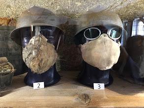 Photo: Early Italian gas masks against Austrian phosogene attacks.  Useless.