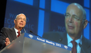 Photo: DAVOS,28JAN03 - Klaus Schwab, Founder and President, World Economic Forum closes the 'Annual Meeting 2003' of the World Economic Forum in Davos, Switzerland, January 28, 2003. 