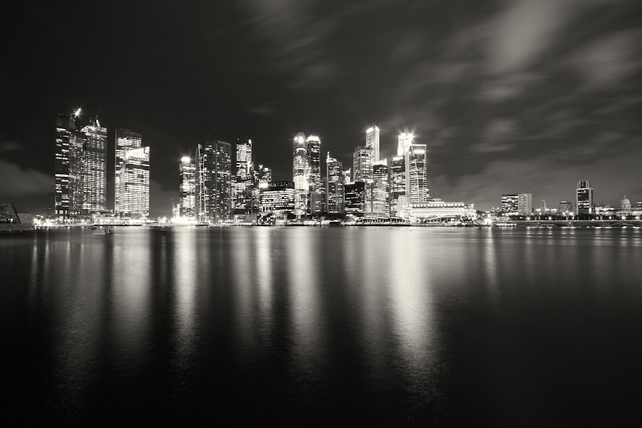 Cityscapes in B&W by Richard Amar - City,  Street & Park  Skylines ( cityscapes, skyline, b&w, reflections, long exposure )