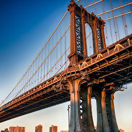 Firmly planted on its feet. A Manhattan Bridge view... by Claudius Cazan - Buildings & Architecture Bridges & Suspended Structures ( manhattan bridge, sunset, dumbo, new york city, brooklyn )