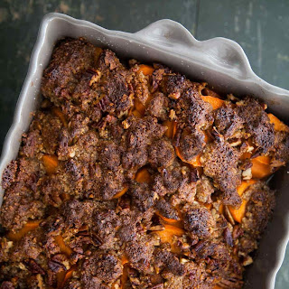 Maple-Glazed Yams with Pecan Topping.