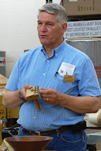 Photo: Bert Bleckwenn shows some inlay tools that he is making.