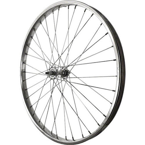 Sta-Tru Front Wheel 26 inch Silver Steel Rim with Solid Thread on Axle