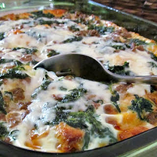 Overnight Breakfast Casserole with Sausage and Spinach.
