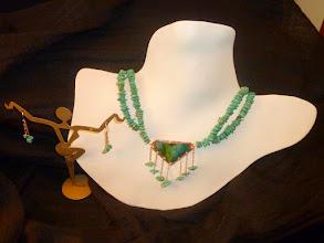 Photo: <BEREHYNYA> {Great Goddess Protectress} unique one-of-a-kind statement jewellery by Luba Bilash ART & ADORNMENT  TROPICANA – ТРОПІКАНА - copper enamel pendant, turquoise, rose gold vermeil SOLD/ПРОДАНИЙ