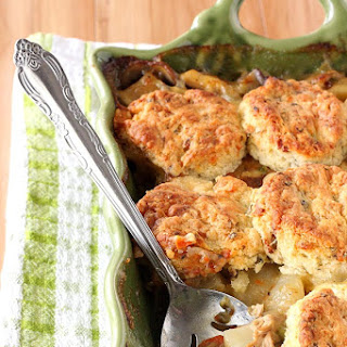 Chicken Pot Pie Casserole With Bacon Cheddar Biscuits.