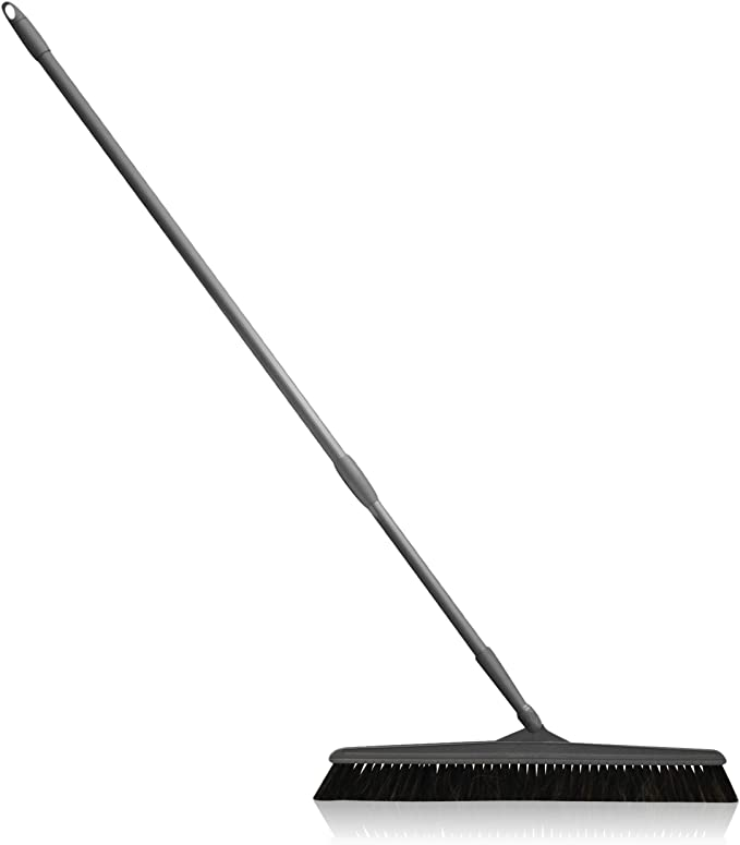 Handysweep Wide Push Broom with Telescoping Handle and Angled Bristle Head for Indoor and Outdoor Household Cleaning, Heavy Duty Sweeper for Kitchen, Bathroom, Garage, Adjustable Length
