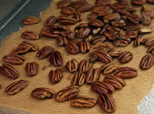 Add the pecans and toss until completely coated, and then spread out in a...