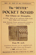 Photo: Advert from DLR's Pocket Guide to Chess - 5th Edition, 1910 https://picasaweb.google.com/102034963874507604520/Oddities#5830320985028126610  Advert showing the 'Dexter' pocket sets.  As noted elsewhere, the Guide also includes an advert with a pack of cards also named 'Dexter'.