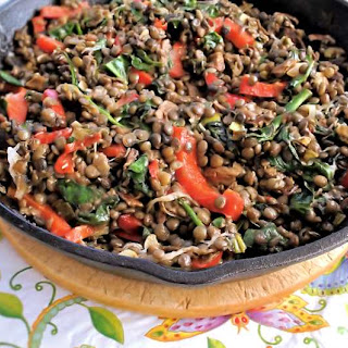Lentils With Mushrooms And Spinach.