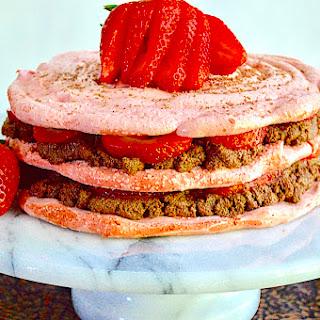 Strawberry Meringue Chocolate Mousse Cake.