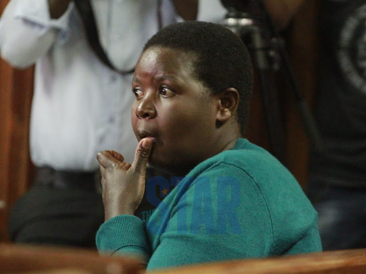 Pamela Kembo, a state witness and former Jackie Maribe's househelp after testifying before the Milimani Law Court on November 28, 2019.