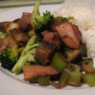 Teriyaki Chicken with Aubergine and Broccoli