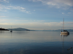 Photo: Lasqueti Island in the distance across the Strait of Georgia from South Ballenas Island.