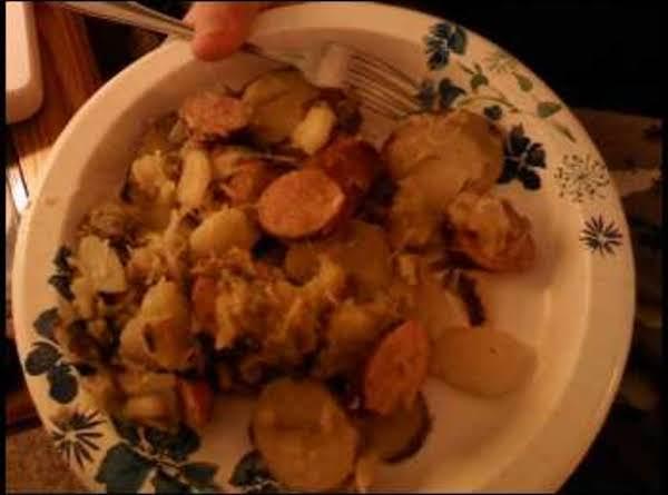 Sauerkraut, Sausage, Greenbeans And Fried Potatoes