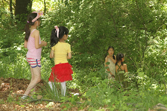 Photo: Kids having little adventure in the woods.