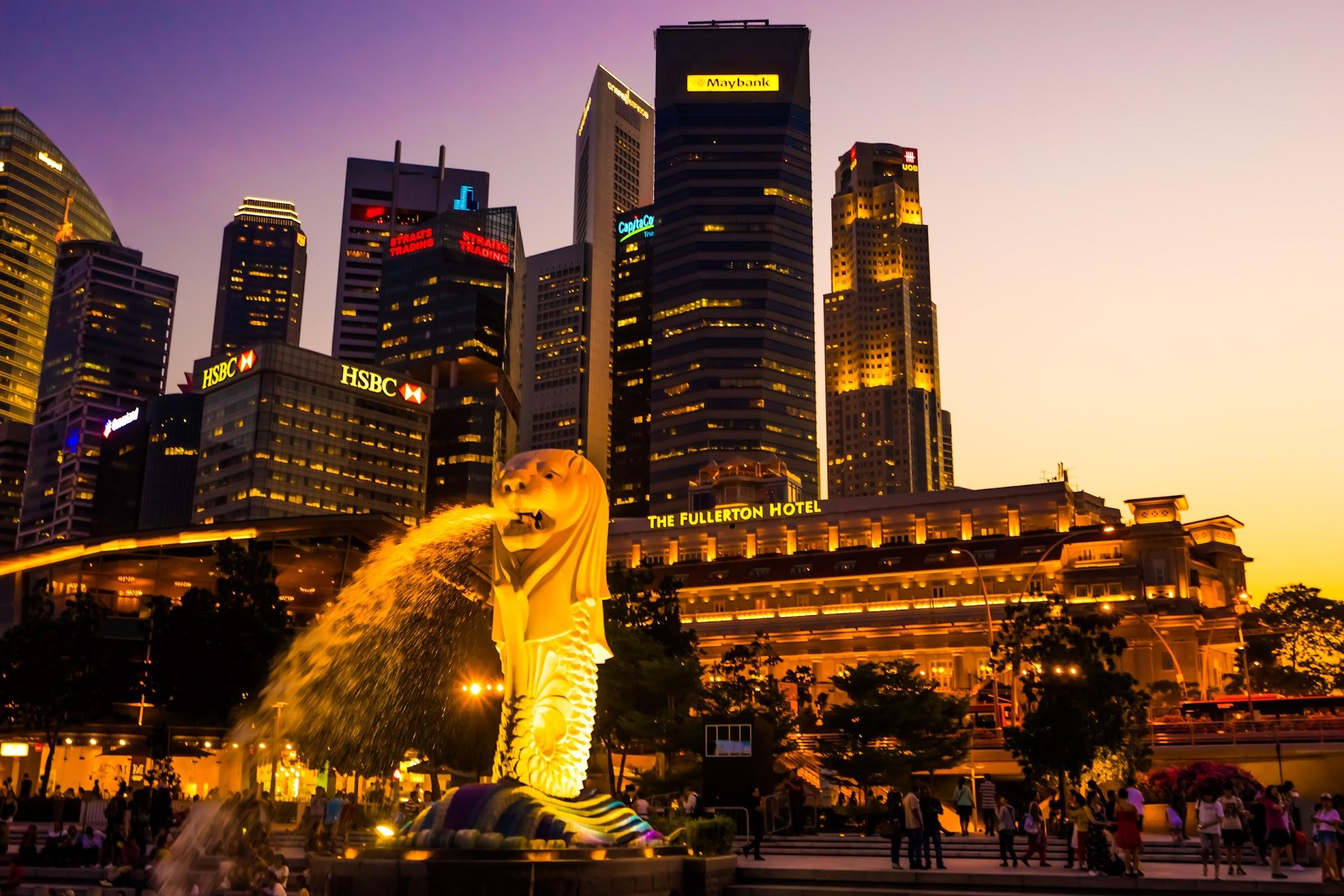 シンガポール マーライオン 夕景