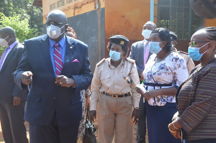 Education Cabinet Secretary George Magoha with education stakeholders at Mjini Primary School on December 30, 2020.