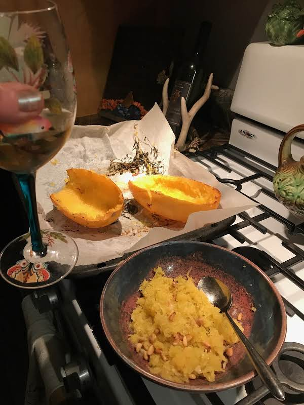 Fresh Spaghetti Squash From My Garden With Roasted Pine Nuts! Yum!