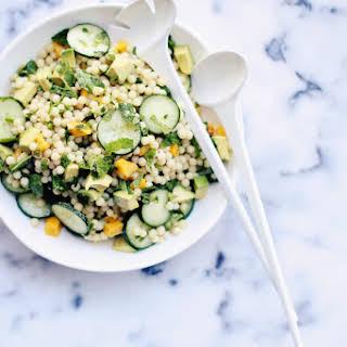 Cucumber, Mango & Avocado Israeli Couscous Salad with Mint-Chile Vinaigrette.