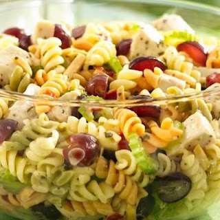 Chicken Pasta Salad with Grapes and Poppy Seed Dressing.