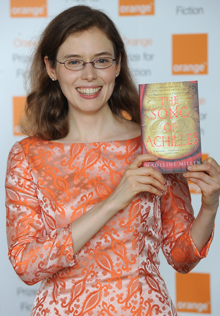 Author Madeline Miller poses with her book 'The Song of Achilles'