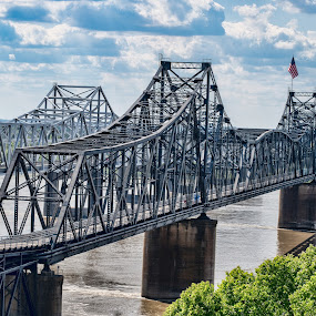 steel twins by Sharyl Goodpaster - Buildings & Architecture Bridges & Suspended Structures ( bridge, river, mississippi, transportation )