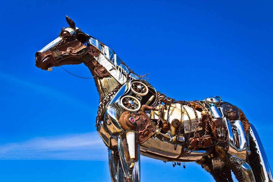 Horse of Metal by Dave Lipchen - Artistic Objects Other Objects ( parking lot, horse, different materials, car bumpers,  )
