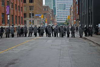 Photo: Police block off yet another intersection in downtown Toronto to isolate groups of demonstrators from one another, a technique now commonly known as 'kettling.'