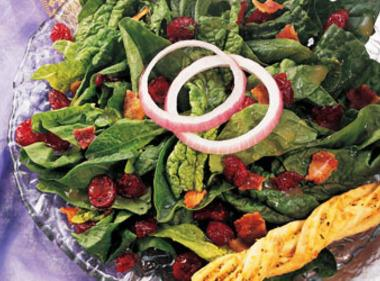 Cranberry-spinach Salad With Warm Bacon Dressing Recipe