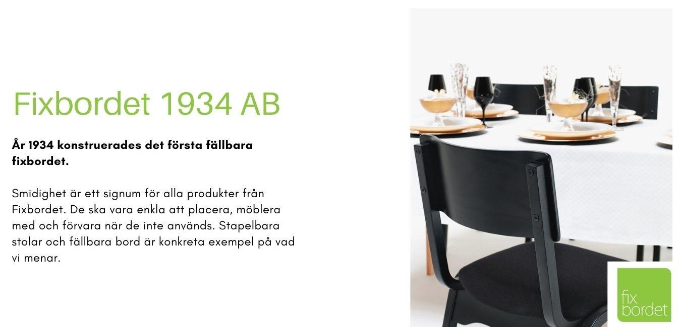 Miljöbild med ett fällbart Fixbord med stapelbara stolen Fixstolen 1 i svart.