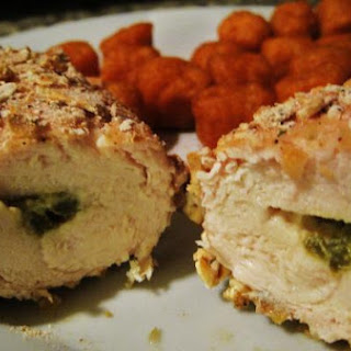 Spicy Pretzel Breaded Stuffed Chicken