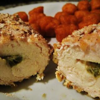 Spicy Pretzel Breaded Stuffed Chicken.