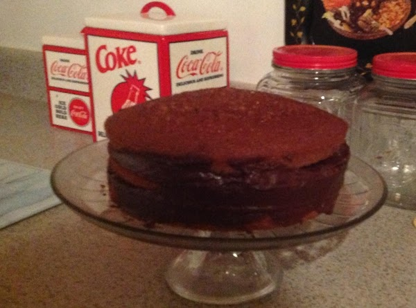 Spread chocolate filling between layers and on sides chill cake 30 minutes.  Pour...