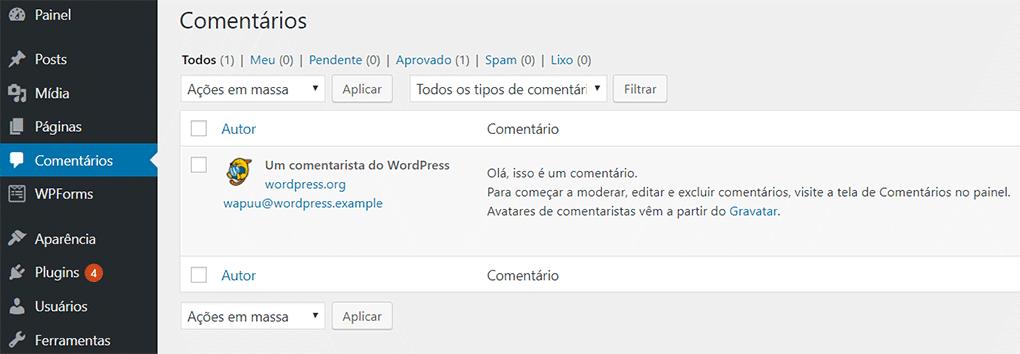 página de comentários do painel do wordpress
