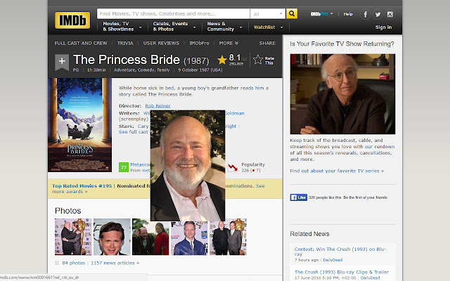 IMDB - Big images on hover