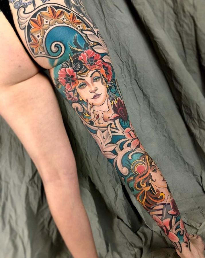 Leg Filigree Tattoo