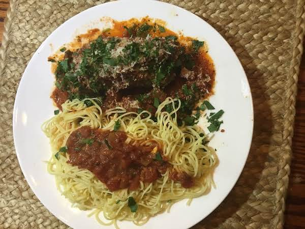 Amy's Bracioli Topped With Tomato Sauce And Parsley With Fresh Angel Hair Pasta.